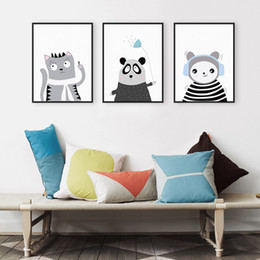 triptych canvas prints Promo Codes - Triptych Light Color Kawaii Animals Panda Cat Art Prints Poster Nursery Wall Picture Canvas Painting Kids Room Decor No Frame