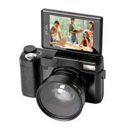"""Objectifs interchangeables en Ligne-3.0 """"Caméra de caméscope d'appareil-photo numérique d'écran de flip Full HD 1080p 24.0MP Caméscope numérique numérique incluent le filtre UV de 52MM + l'objectif grand-angulaire"""