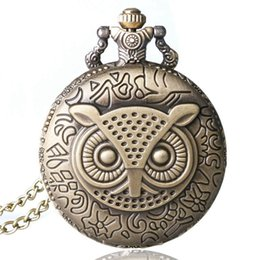 Wholesale Vintage Owl Clocks - Bronze Copper Vintage Retro Owl Pattern Quartz Pocket Watch Clock Hour Time Necklace With Chain Men Women Gifts