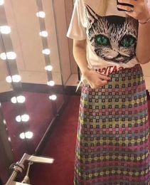 Wholesale Cat T Shirts Women - 2018 Casual Men's t shirt women Brand green Big cat eye bead piece Animal cartoon Printed T Summer High Quality Hipster tee shirts