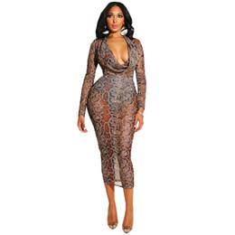 2019 fotos de vestidos de cena cortos Sexy vestido de malla con estampado de serpiente de las mujeres del otoño de manga larga ver a través de Midi vestido de Navidad Bodycon Night Club vestidos de fiesta