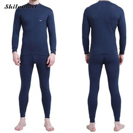 Wholesale Long Johns Sets For Men - Winter Thermal Underwear Sets For Men Blue Thermo Elastic Long Johns Spring Knitted Warm Sexy Brand Men's Pants Suit Size M-XXL