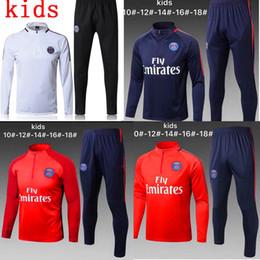 Wholesale kids boys wear - Paris Neymar kids survetement football tracksuits 2018 Ronaldo POGBA boy Long pants wear city kids training suit jacket kit