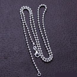 collar de bolas de ley 925 Rebajas Collar de cadena de los granos de la bola de la joyería de la plata esterlina 925 puros reales 2.5 -3.0mm Vintage Thai Silver Long Fashion Necklace