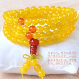 2019 achat buddhistische perlen Natürliche 6mm gelbe Achat Perlen Armband tibetische buddhistische 108 Gebetskette Halskette Kürbis Mala Gebet Armband für die Meditation rabatt achat buddhistische perlen