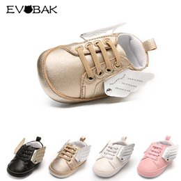 Wholesale Kids Shoe Wings Wholesale - Baby Shoes Spring Autumn Soft Kids First Walkers Breathable Solid Wing Rubber Sole Lace-up Shoes For Baby Boys Girls Sneakers