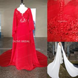 Real Photo Hohe Qualität Mantel Chiffon Brautkleid Illusion Brautkleider mit Cape Schal Griechischen Stil Graecism Brautkleid Rot Weiß Kleid von Fabrikanten