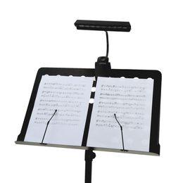 Lampada da tavolo della batteria principale online-Supporto flessibile 9LEDs Lampada da tavolo LED bianca Supporto portatile pieghevole per orchestra LED Musica leggera da 5V USB alimentato o 3 batterie AA