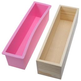 Moldes de velas online-Molde de jabón de madera rectangular en stock con revestimiento de silicona y herramienta de molde de jabón en forma de remolino Diy Molde de vela de jabón Diy 0 .9 / 1 .2kg Molde