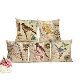 Wholesale Gardening Birds - European Vintage Birds Printed Decorative Sofa Throw Cushion Pillows Outdoor Garden Chair Cushion Decor No Filling