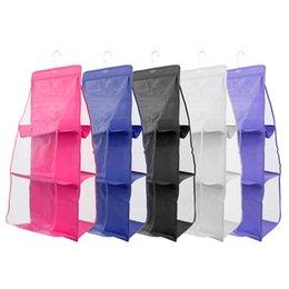 Wholesale Wardrobe Hangers - THINKTHENDO Pocket Bag Closet Wardrobe Rack Hanger Holder Handbag Pouch Organizer Bag Accessories