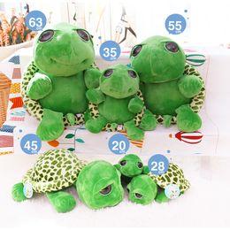 Wholesale Stuffed Green Turtle - 20cm Stuffed Plush Animals Green Big Eyes Turtle Baby Kid Stuffed Tortoise Plush Toy Gift 10pcs wholesale