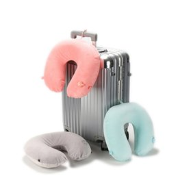 Wholesale Velvet Cushions Wholesale - Inflatable Travel Neck Pillow With Hat Velvet Neck Rest U Shaped Pillow Air Cushion Foldable Travel Set 3 Colors LJJA9