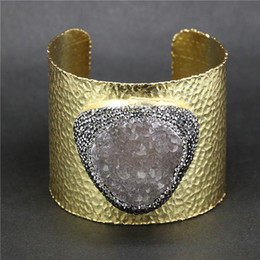 Wholesale Jewelry Findings For Bracelets - whole sale1pc Pave Rhinestone Natural Druzy Stone Snakeskin Leather Cuff Bangles Bracelets Jewelry Finding for Women A-0093