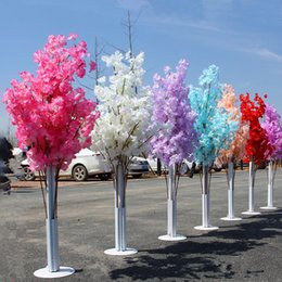 Wholesale led artificial tree wholesale - 150CM Tall Upscale Artificial Cherry Blossom Tree Runner Aisle Column Road Leads For Wedding T Station Centerpieces Supplies
