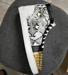 Wholesale Gold Snake Shoes - 2018 New Mens Casual Shoes grey snake with gold spikes Red Bottom with spikes high top Lace-up Unisex Luxury New Flats Sneaker Fashion D