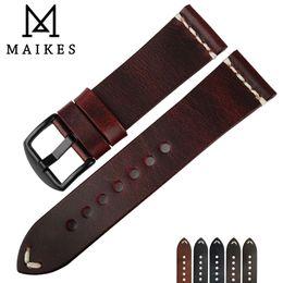 MAIKES Vintage simple cuero genuino reloj accesorios 22mm 24mm reloj banda plata negro acero hebilla fina correa pulseras desde fabricantes