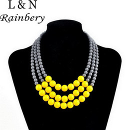 Wholesale Triple Gold Necklace - whole saleRainbery 2017 New Style Multi Layer Necklace Gold Color Brand Women Colar Statement Choker Triple Layer African Beads Necklace