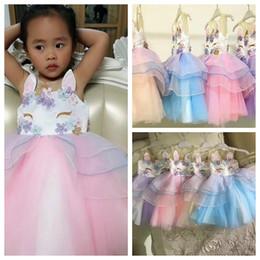 Wholesale wedding sundresses - Baby Girls Unicorn Princess Wedding Bridesmaid Party Formal Lace Dress Sundress Ruffle princess party TUTU Dress KKA4399