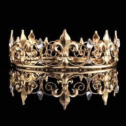 Wholesale Imperial Crystal - Full Circle Gold and Sliver Prom Accessories King or Queen Men's Crown Round Imperial Medieval Gold Rhinestone Prom King Party Tiaras
