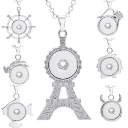Wholesale eiffel tower buttons - 15 Styles new hot sale 18mm snap buttons noosa Eiffel Tower button diy pendant fit 18mm charm snap jewelry for drop shipping