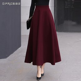 79dbf71ea25 High Waist Woolen Skirts Womens Winter 2018 Fashion Streewear Wool Long  Pleated Skirt With Belt Casual Ladies Saia Longa Black C18111301