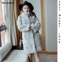 Wholesale Knitted Rabbit Fur Coat Black - Fashion Long real rabbit Fur coat Without Hooded Women Winter Slims Super Long natural Fur overcoat Coat Female Jackets