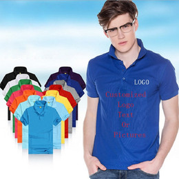 Wholesale organic cotton jersey - Customized Men Polo Shirts Man Jersey Logo Print Teenagers Tees Shirts Personalized Polos Tops Outfit T-Shirts Pure Solid Tee