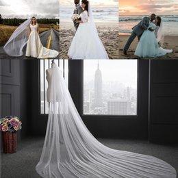 Em Estoque Acessórios De Noiva Marfim Branco Véus De Noiva De 3 Metros De Comprimento Com Pente Uma Camada De Véu Do Casamento CPA078 de Fornecedores de casamento branco kim kardashian