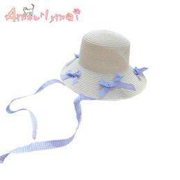 Cute Bow Lace up Plaid Cappello di paglia Estate femminile Casual Beach  Cappello da sole per donna Ragazza Cap Chapeu Feminino economico sole carino eacdfa477bd2