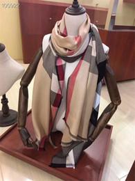 Involucri di cachemire donna online-2018 Hot High Qualtiy Sciarpa di marca per le donne Silk Cashmere Design lungo Sciarpe delle donne Shawls plaid Wrap Dimensioni 180x70cm senza scatola