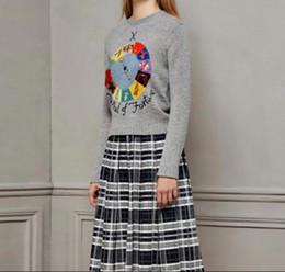 Wholesale sweaters cartoon women - 2018 Gray Long Sleeves Cartoon Letter Print Women's Sweaters Brand Same Style Jacquard Pullovers Women g06