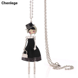 Wholesale Womens Silver Long Necklaces - fashion doll necklaces for womens 1piece free shipping antique silver-color necklaces jewelry maxi long chains big choker