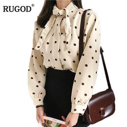 blusas coreanas de algodón Rebajas RUGOD 2018 Spring Korean Style Collar de manga larga de algodón Blusas y camisas Mujeres Casual Cute Tops de impresión Blusas Feminina