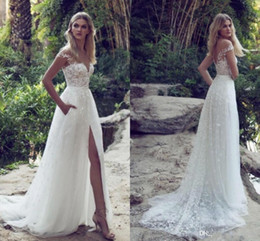 Wholesale front pocket - 2017 Sheer Cap Sleeve Lace Sheath Illusion Wedding Dresses Tulle Applique Split Sweep Train Summer Beach Wedding Bridal Dresses With Pocket