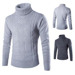 Suéter para hombre jersey 2018 para hombre suéteres ocasionales delgados sólido cuello alto Jacquard Hedging hombres tejer suéter XXL desde fabricantes