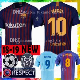 Wholesale men s tops - TOP Thai Barcelona Soccer Jersey 2019 9 10 Messi 8 Iniesta 9 Suárez 11 Dembele 14 Coutinho Football uniforms shirts Soccer Jerseys