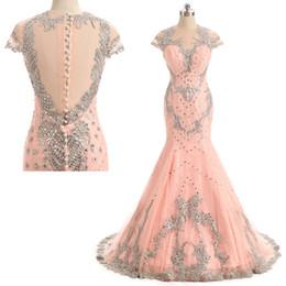 2019 rosa vermelha menina sexy Jóia por atacado de volta Botão Coberto simples vestido Exposto Desossa vestido formal Vestidos de Baile com o comprimento do chão CYH0000LG0222