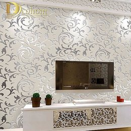 2019 tinta branca chinesa Estilo europeu não-tecido papel de parede clássico papel de parede rolo roxo / cinza wallcovering luxo papel de parede floral papel de parede V1