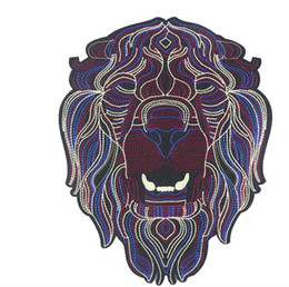 Wholesale Large Motorcycle Patches - large Embroidery Patches for Jacket Back Motorcycle Biker Lion's Head Pattern Patch For Clothes DIY 22*25CM