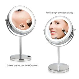 2019 двойное боковое зеркало  Mirror 10X 1X Magnifying Mirror Brightness Adjustable Portable Touch Screen  Dual 2 Side Cosmetic LED дешево двойное боковое зеркало