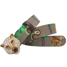 Homens jeans leopardo on-line-Ocidental Rhinestone Leopard cabeça Buckle tigre Leather Men Belt Presente Com Jeans