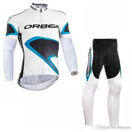 ciclo orbea Rebajas Equipo ORBEA Ciclismo manga larga jersey (babero) pantalones conjuntos para hombre de secado rápido Ropa maillot bicicleta de montaña Gel acolchado C1415