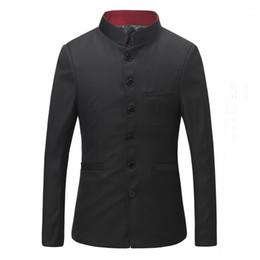 2019 blazer con colletto Uomo Stand Collar Cinese Tunic Suit Coat + Pants Maschile Giacca da uomo tradizionale cinese Business Suit Slim Fit personalizzato 16 sconti blazer con colletto