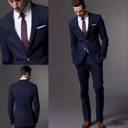 1c6a11a1e7c2b chaqueta de color azul oscuro Rebajas Custom Made Dark Navy Blue Men Suit  2018 Fashion Groom