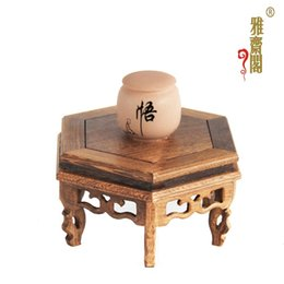 Wholesale Wood Fish Carving - Rosewood carving handicraft wooden fish vases round a few potted flower base decoration wood base gifts