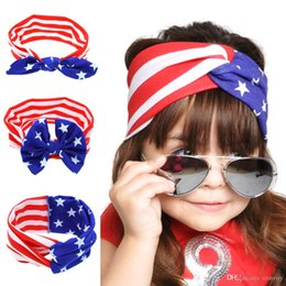 Wholesale flag day kids - Baby Girls US flag Bunny Ear Bow Headbands Children Kids National Day Cross Knot Hair Accessories Hairbands Girl Bowknot Headwear KHA493
