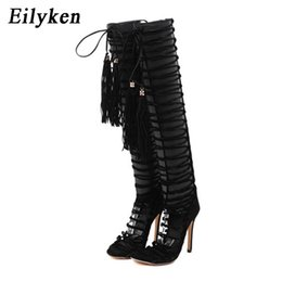 Wholesale Sexy Over Knee Flat - Eilyken Summer Sandals Sexy Women Long Boots Over The Knee Gladiator Sandal Boots High Heel Fringe Pumps 12CM Lace Up Sandals