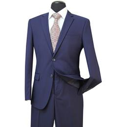 Esmalte azul marino solapa esmoquin online-2018 Nuevo novio azul marino esmoquin delgado esmoquin padrinos de boda gris azul marino chal solapa mejor traje de hombre boda trajes de chaqueta de hombre (chaqueta + pantalones) ST003