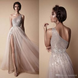 Wholesale Short Occasion Dresses Women - Sexy Side High Slit Rose Gold Sequins Prom Dresses Floor Length Tulle Applique Evening Party Gown One Shoulder Women Formal Occasion Wear